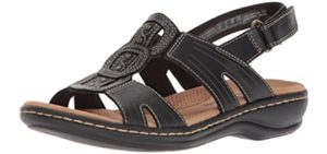 Clarks Women's Leisa Vine - Comfortable Flat Feet Sandals
