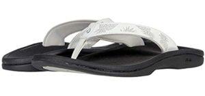 Olukai Women's Ohana Flip Flops - Leather Flip Flop Sandal for Plantar Fasciitis